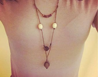 Brown Hemp V-Layered Necklace with Beads