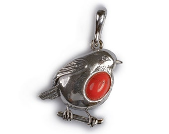 Henryka Small Coral and Silver Rockin' Robin Necklace