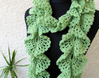 Crochet Scarf PATTERN, Ruffle Scarf Pattern, Unique Scarf, Lace Scarf DIY Gift For Women, Instant Download, PDF Pattern #98, Lyubava Crochet