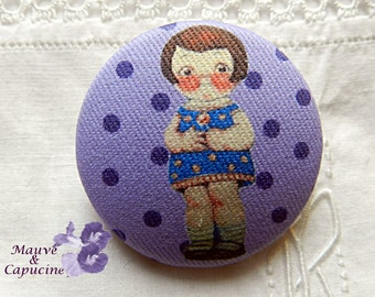 Fabric button, printed doll, 0.94 in / 24 mm