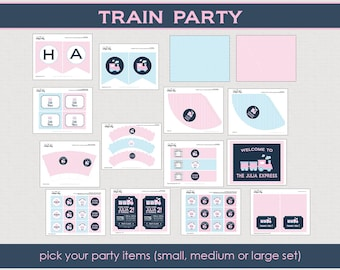 Train Birthday Party Package - Choo Choo train party - Girl Birthday Party - Printable Party Collection // TRAG-11
