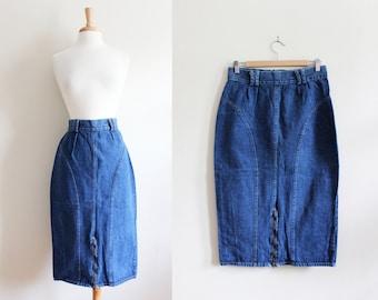 Vintage High Waist Denim Skirt