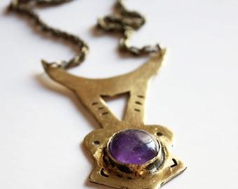 Amethyst necklace, birthstone jewelry, february birthstone necklace, brass necklace, crescent moon necklace, witch necklace, boho necklace