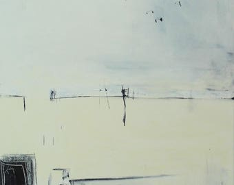 Original Oil Painting; Abstract; Landscape; Black and White; Contemporary Coastal Art; 24ins x 18ins