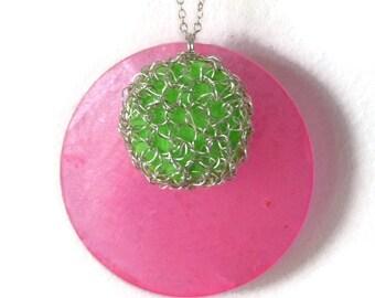 Wire crochet pendant