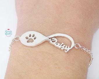 Pulsera infinito huella perro plata / Pulsera infinito nombre perro / Pulsera infinito huella gato plata / Pulsera infinito nombre gato