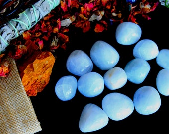 ONE Tumbled Blue Calcite Stone - Chakra Healing Crystal, Stress Relief, Angel Crystal, Polished Stones, Energy Healing, Beautifully Stone