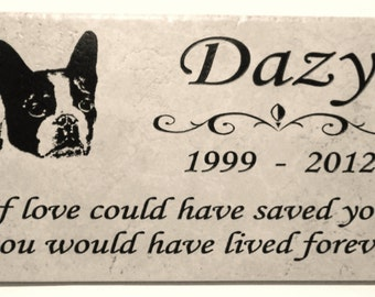 "Boston Terrier Memorial Marker 12x6x3/8"" Weathered Italian Porcelain. Maintenance free."