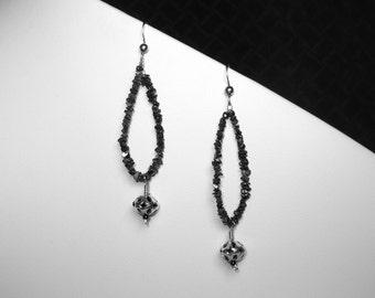 Black Diamond Earrings in Silver