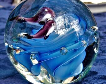 Vintage Italian Murano Art Glass Paperweight  Whales Blue Ocean