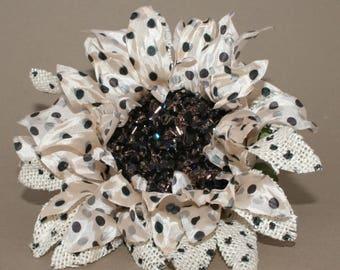 Polka Dot Cream Burlap Sunflower Pick - Cream with Black Dots - Artificial Flowers, Silk Flowers