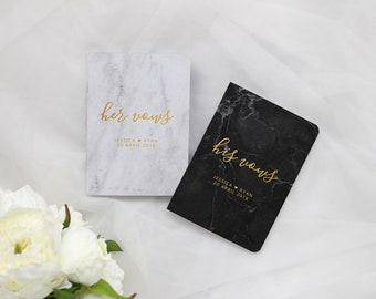 Personalized Vow Books Marble, His and Her Vow Books Gold, Wedding Vow Booklet, Wedding Vow Book, VB014
