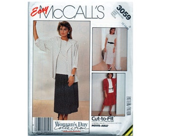 Easy Skirt Pattern with Elastic Waist and Yoke - Jacket and Sleeveless Top - McCalls 3059 Size 12 14 16 - Vintage 90s