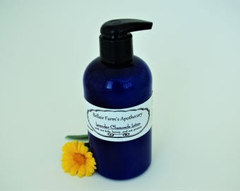 Lavender Chamomile Lotion, with all natural ingredients including oat protein, sea kelp, and carrot seed oils
