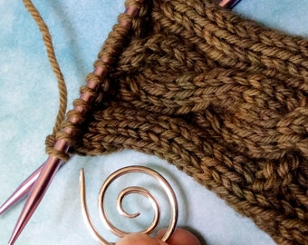Spiral Cable Needle, Sterling Silver Knitting Tool, Silver Cable Needle, As Seen in Interweave Knits Magazine