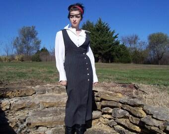 Vintage Pinstripe Dress - Gray Dress - Sleeveless Dress - Vest Dress - Maxi Dress