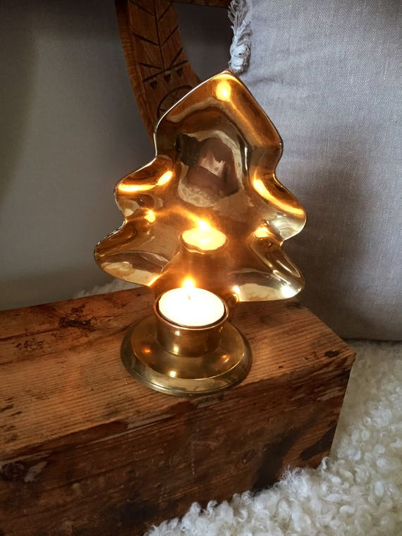Large/hanging/brass/evergreen/tree/candle/ votive/ holder/aged patina/1960s/good weight/scandi /Sweden