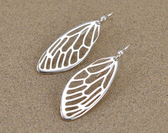 Cicada Wing Earrings - Sterling Silver - Insect Jewelry