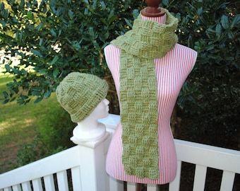 Scarf and Beanie Set, Crochet Scarf and Beanie, Basketweave look, Green, SageTweed