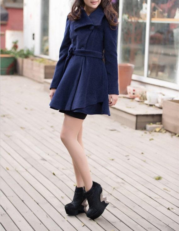 Fitted cape blue wool jacket women winter coat wool dress pleated cape coat  BJ43