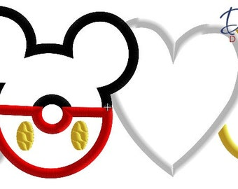 Love (2) Mickey Words - 4x4, 5x7, 6x10 in 9 formats - Applique - Instant Download - David Taylor Digitizing