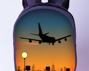 Plane print backpack Blue backpack Airplane print backpack for boys Preschool backpack Kids backpack