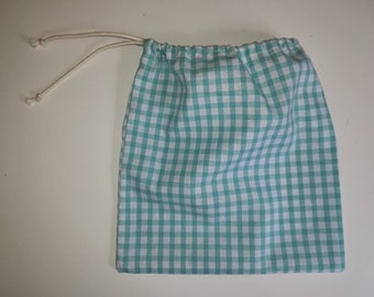 Fabric pouch green gingham with water