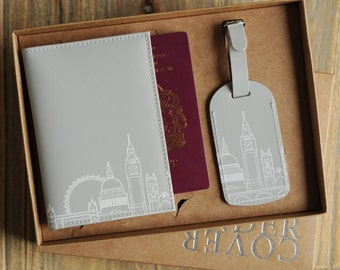 London Leather Skyline Passport Cover And Luggage Label