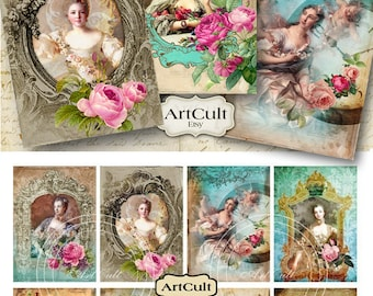 Printable Digital Collage Sheet MADAME DE POMPADOUR 2.5x3.5 inch print-it-yourself Gift Tags Jewelry Holders vintage ephemera Paper ArtCult