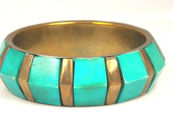 Turquoise Lucite Brass Bangle Bracelet Chunky Jewelry