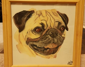 Watercolor Pencil Pug Painting or Print