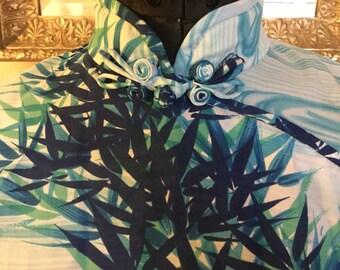 1960s Lauhala Hawaiian Blue Bamboo Cheongsam/Mandarin Collar Full Length Dress - Sz Sm/Med