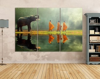 3 Pieces Elephant with Monk Leather Print/3 Panel Wall Art/Large Wall Art/Large Wall decor/Multi Panel Wall Art/Better than Canvas!