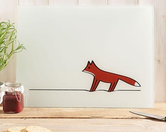 Fox Glass Chopping Board, Kitchen Worktop Saver, Gifts for Fox Lovers, Fox Gifts