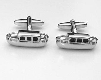 Narrowboat Cufflinks, Motor Boat Cuff Links, Yacht Cuff Links, Men's Cuff Links, Wedding Cuff Links, Father's Day