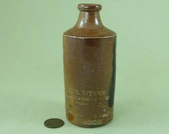 Dr Winns Black & Blue Reviver Brown Salt Glazed Stoneware Impressed Bottle Advertising Token