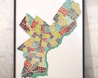 Philadelphia map art, Philadelphia art print, Philadelphia typography map, map of Philadelphia, Philadelphia neighborhood map downtown