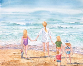 Fine Art Reproduction, Giclee print, Family beachtime,sand,wind,waves,surf, children, beach toys,heartfelt,handholding,Janet Dosenberry