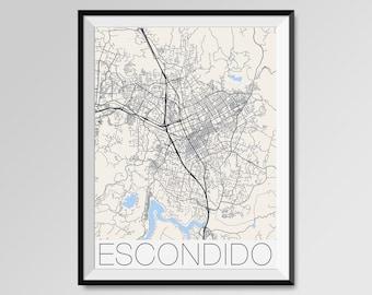 Escondido California Map, Escondido City Map Print, Escondido Map Poster, Escondido Wall Map Art, Escondido gift, Custom city maps