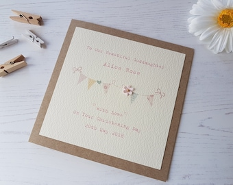 Personalised Christening Card - Naming Day Card - Goddaughter, Daughter, Granddaughter, Niece, Little Girl, Christening Day Baby Girl Card