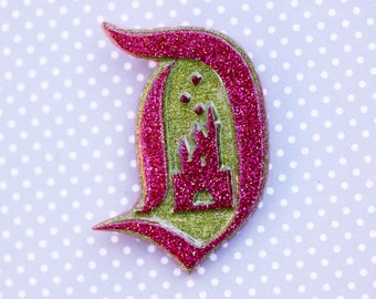 Disney D Brooch- Magenta Disney D Brooch