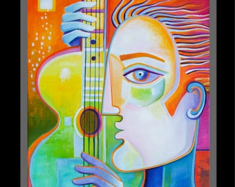 Abstract Painting Original Modern art Oil on canvas Guy with Guitar Marlina Vera Contemporary Artwork wall art Guitar music musicien