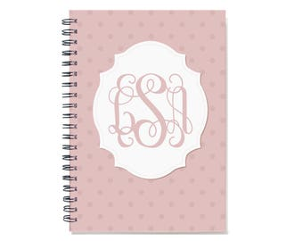Personalized 2018 weekly planner with monogram, Start any month, 12 month calendar, 2018 2019 customizable planner book, SKU: pli dot m