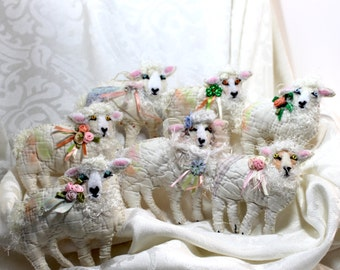 Sheep Quilty Critters - ONE Sheep per purchase - lg Version - OOAK, Folk Art, Ornament, St. Patricks Day, Springtime