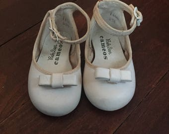 White Leather Baby Shoes by Baby Deer Cameos