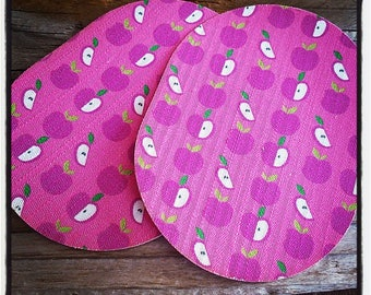 Pair of 2 elbow melt apples printed pink and purple