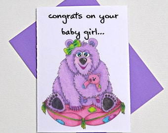 congratulations on your baby girl greeting card, baby gifts, pink baby card, funny animal card, cute bear punny card, new baby greeting card