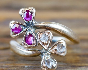 1800's Victorian 14k Gold Ruby and Diamond Clover Bypass Ring