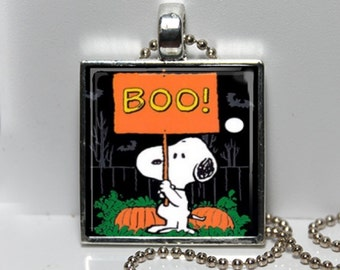Vintage Snoopy Peanuts BOO Halloween Great Pumpkin Granddaughter Gift Altered Art Charm Necklace