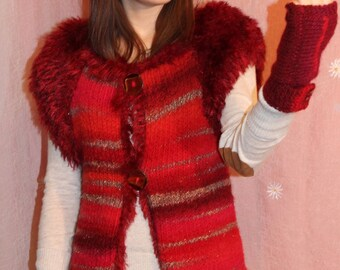 hand knit, red, sleeveless jacket, fur on the edge, knitted